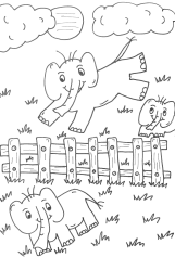 Elephants Jumping the Fence PNG